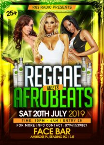 AfroBeats Meets Reggae Party Saturday 20th July 2019